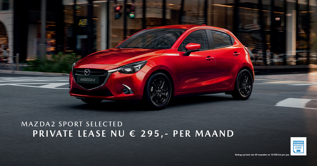 190139 Mazda Q2_Facebookpost Mazda2 Sport Selected_Private Lease_1200x628px [opmaak 01]