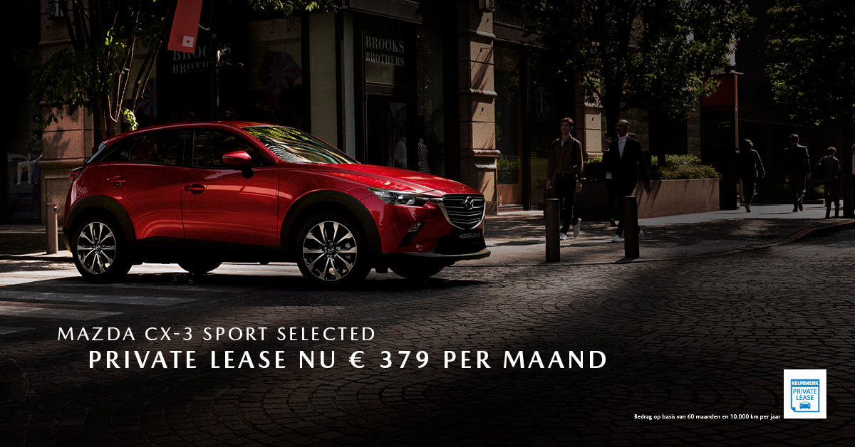 190283 Mazda Q3_Facebookpost Mazda CX-3 Sport Selected_Private Lease_1200x628px [opmaak 01]