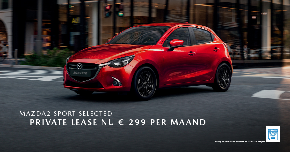 190283 Mazda Q3_Facebookpost Mazda2 Sport Selected_Private Lease_1200x628px [opmaak 01]